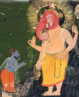 Vyasa diktiert Ganesha die Bhagavad Gita