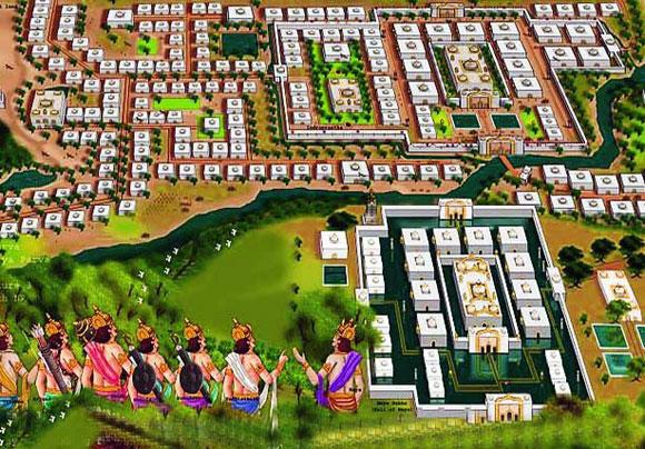 Die Hauptstadt Indraprastha in Yudhishtiras Reich