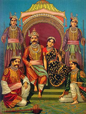 Yudhisthira mit Draupadi auf dem Thron